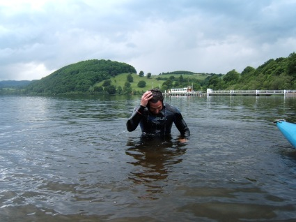 The end of the 7.5 mile swim of Lake Ullswater