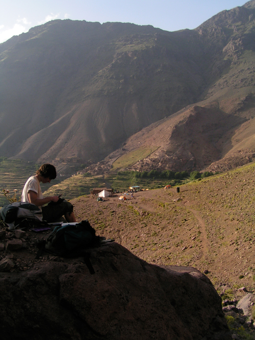 Drawing whilst trekking through the Atlas Mountains of Morocco